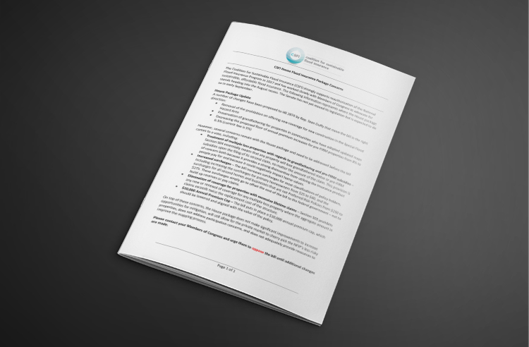 CSFI House Flood Insurance Package Concerns